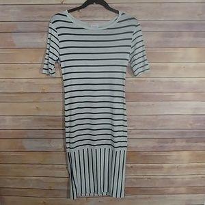 LuLaRoe Stripped Julia dress Black/ Gray XS